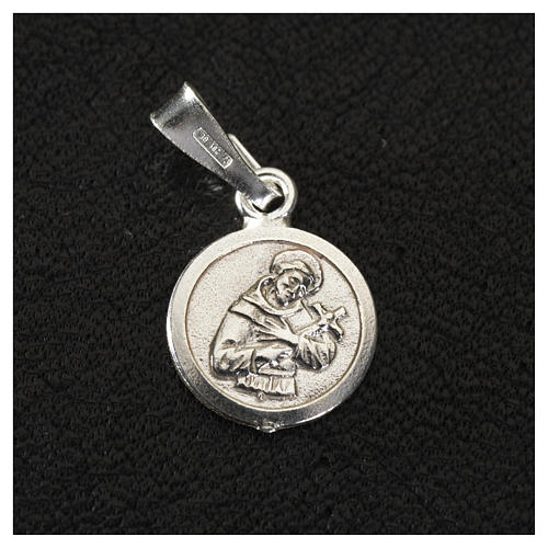 Pendant medal in sterling silver, Saint Francis 9mm 2