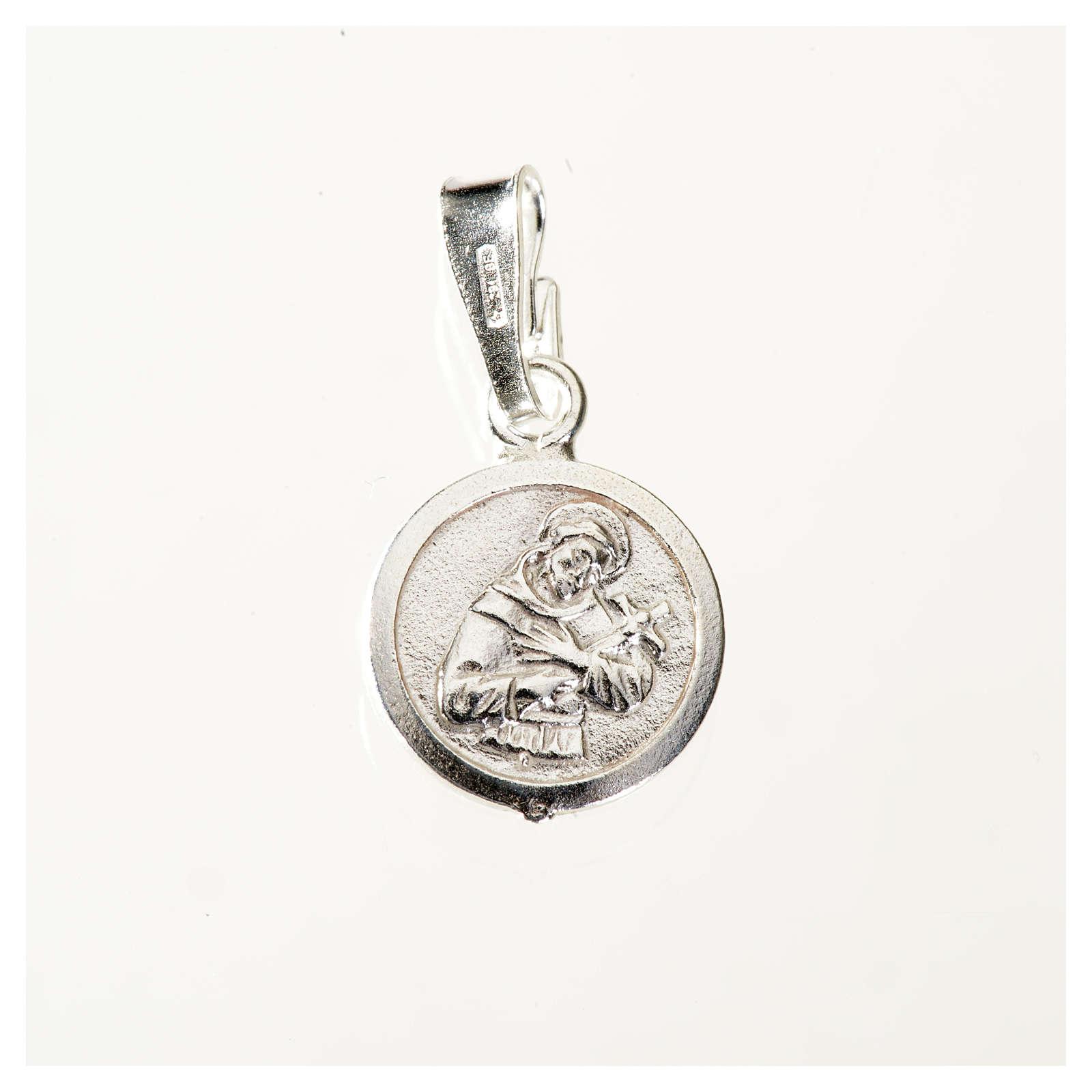 Medalha prata 925 São Francisco 9 mm 4