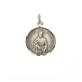 Medaglia argento 925 San Francesco 16 mm s1