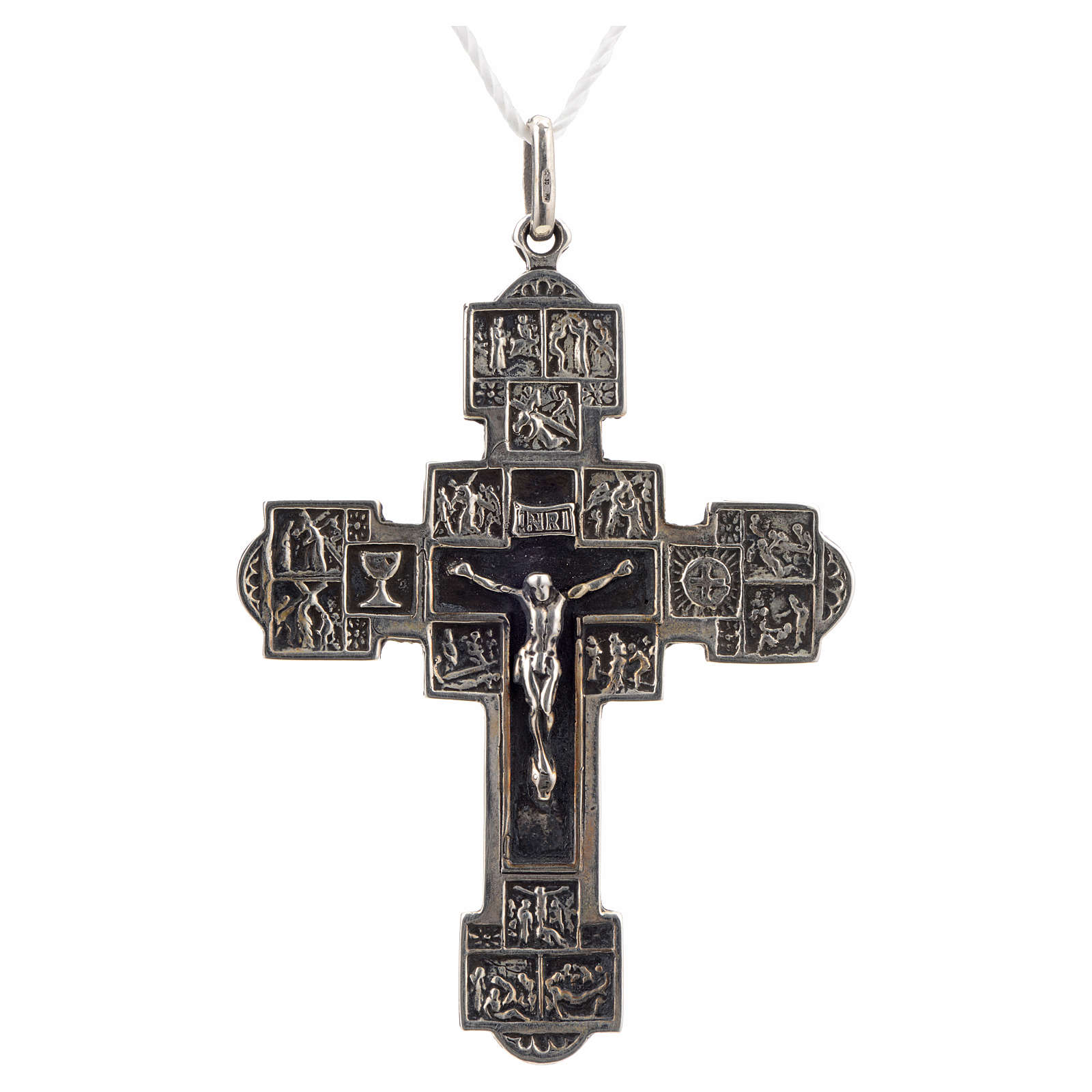 Pendente croce con Via Crucis argento 925 4