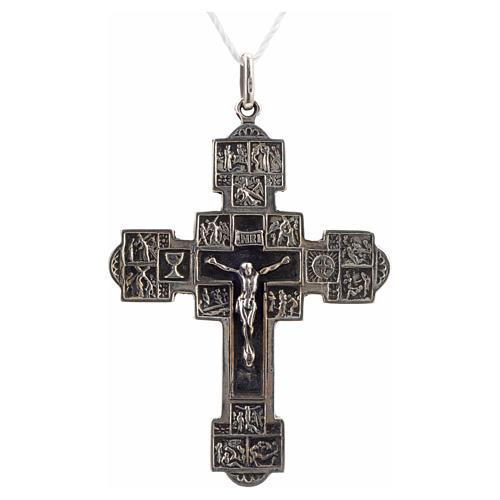 Pendente croce con Via Crucis argento 925 1