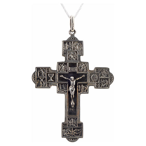 Pendant crucifix with Stations of the Cross, sterling silver 1