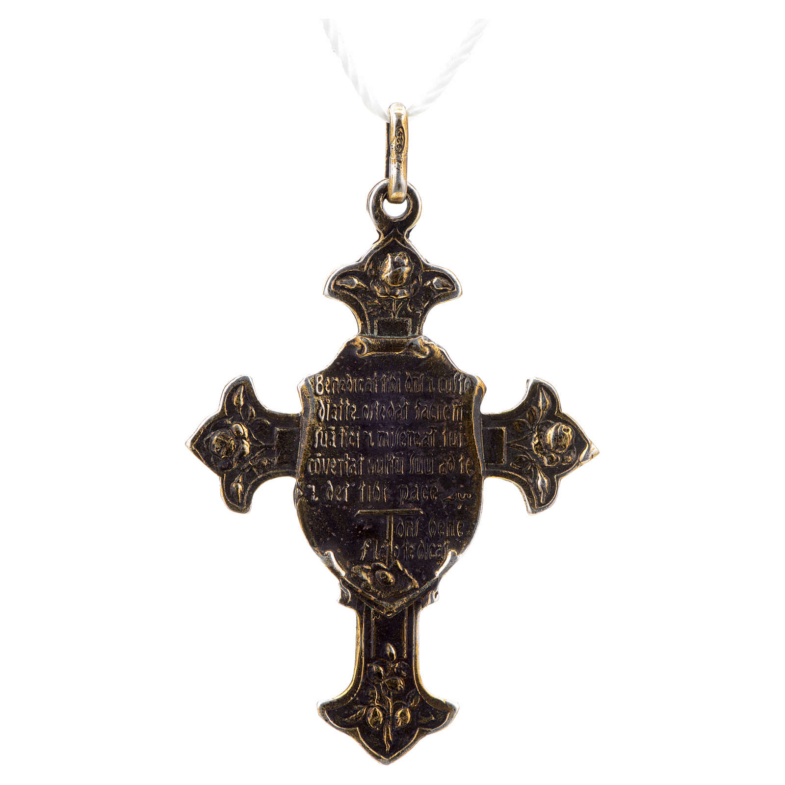 Pendant Saint Francis cross with Blessing, sterling silver 4