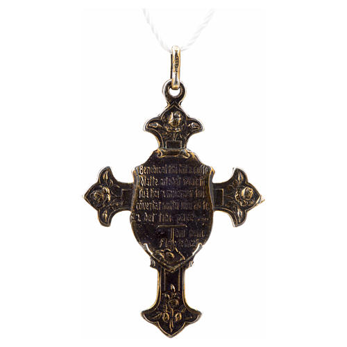 Pendant Saint Francis cross with Blessing, sterling silver 2