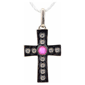 Cruz románica en plata 925 con stras y pietra rosada s4