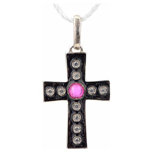 Cruz románica en plata 925 con stras y pietra rosada 4