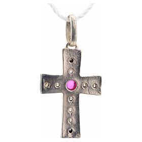 Croce romanica in argento 925 con strass e pietra rossa s6
