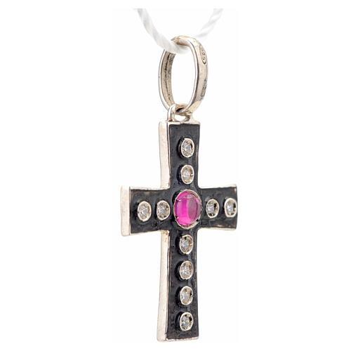 Croce romanica in argento 925 con strass e pietra rossa 5