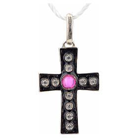 Pendant Romanesque cross, sterling silver, rhinestones, red ston s4