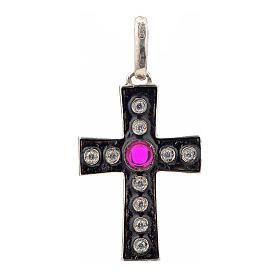 Pendant Romanesque cross, sterling silver, rhinestones, red ston s1