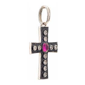 Pendant Romanesque cross, sterling silver, rhinestones, red ston s2