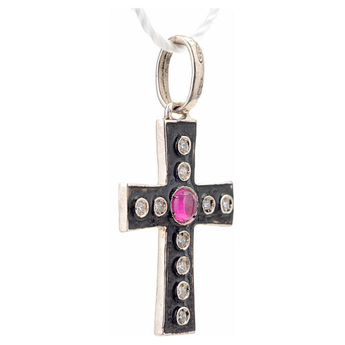 Pendant Romanesque cross, sterling silver, rhinestones, red ston 5