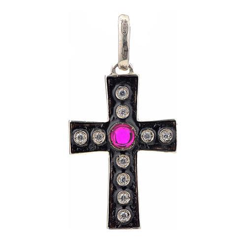Pendant Romanesque cross, sterling silver, rhinestones, red ston 1