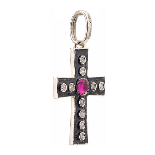 Pendant Romanesque cross, sterling silver, rhinestones, red ston 2