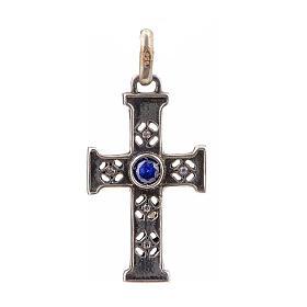 Croce romanica con pietra in argento 925 finitura argentata s1