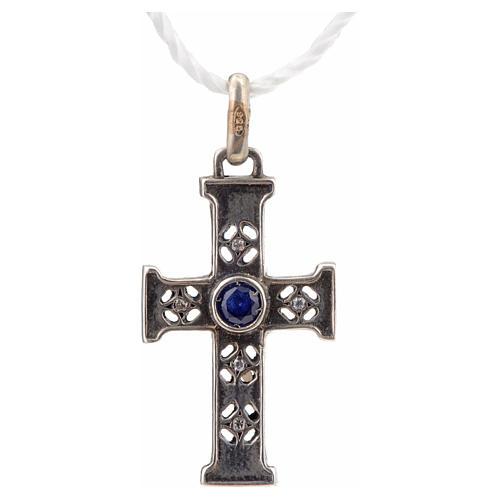 Croce romanica con pietra in argento 925 finitura argentata 4