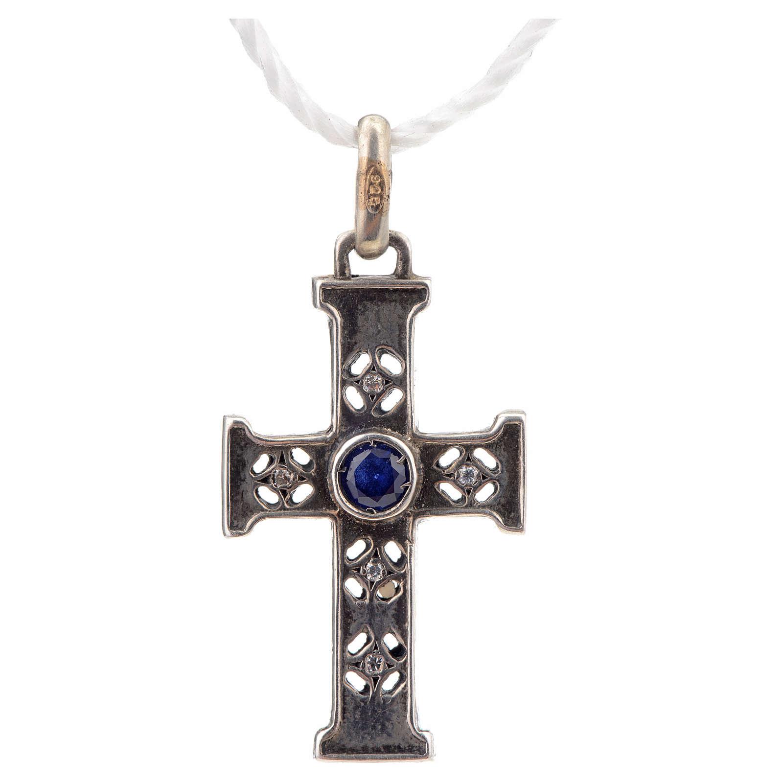 Pendant Romanesque cross, sterling silver, stone, silver finish 4