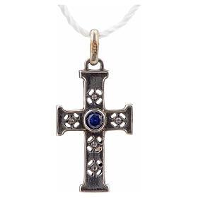 Pendant Romanesque cross, sterling silver, stone, silver finish s4