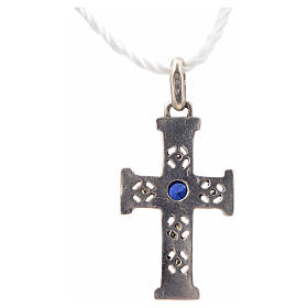 Pendant Romanesque cross, sterling silver, stone, silver finish s6