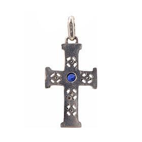 Pendant Romanesque cross, sterling silver, stone, silver finish s3
