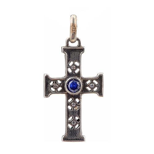 Pendant Romanesque cross, sterling silver, stone, silver finish 1