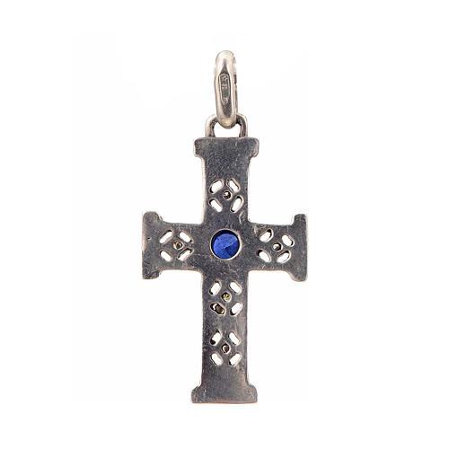 Pendant Romanesque cross, sterling silver, stone, silver finish 3