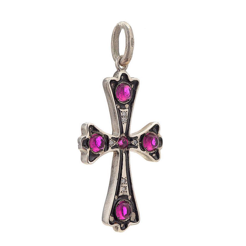 Cruz plata 925 con piedras rosadas 4