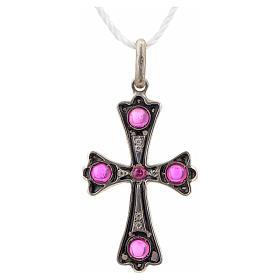 Cruz plata 925 con piedras rosadas s4