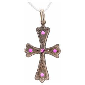 Cruz plata 925 con piedras rosadas s6