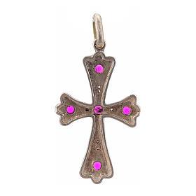 Cruz plata 925 con piedras rosadas s3
