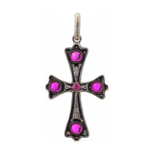 Cruz plata 925 con piedras rosadas 1