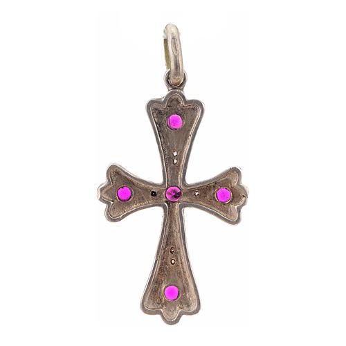 Cruz plata 925 con piedras rosadas 3