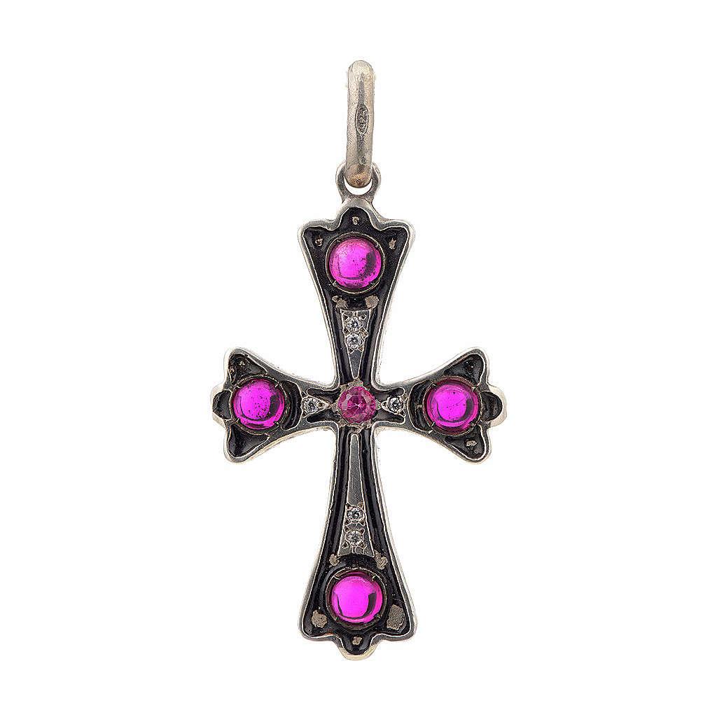 Croce argento 925 con pietre rosse 4