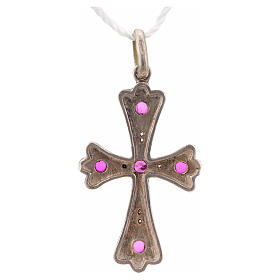Croce argento 925 con pietre rosse s6