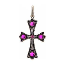Croce argento 925 con pietre rosse s1