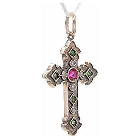 Cruz con piedras verdes y rosada plata 925 s5