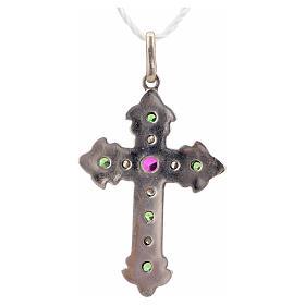 Cruz con piedras verdes y rosada plata 925 s6