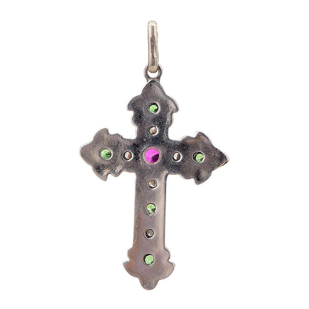 Croix en argent 925 et pierres rouges et vertes 4