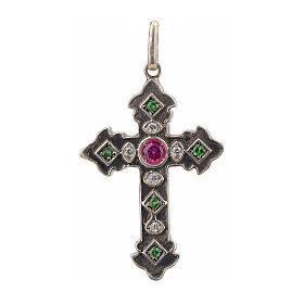 Croix en argent 925 et pierres rouges et vertes s1