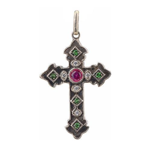 Croix en argent 925 et pierres rouges et vertes 1
