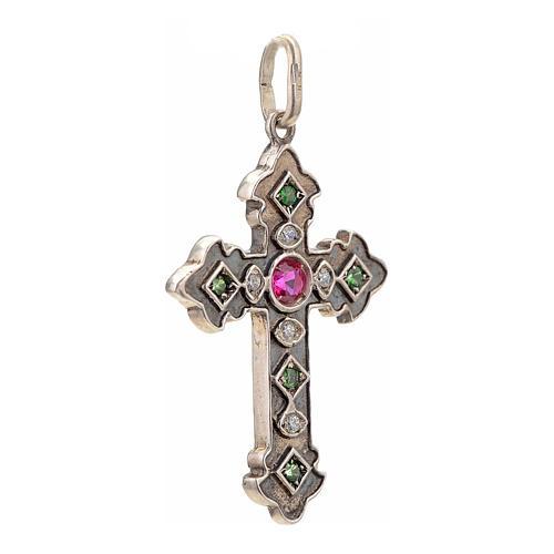 Croix en argent 925 et pierres rouges et vertes 2
