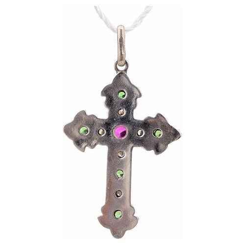Croce con pietre verdi e rosse argento 925 6