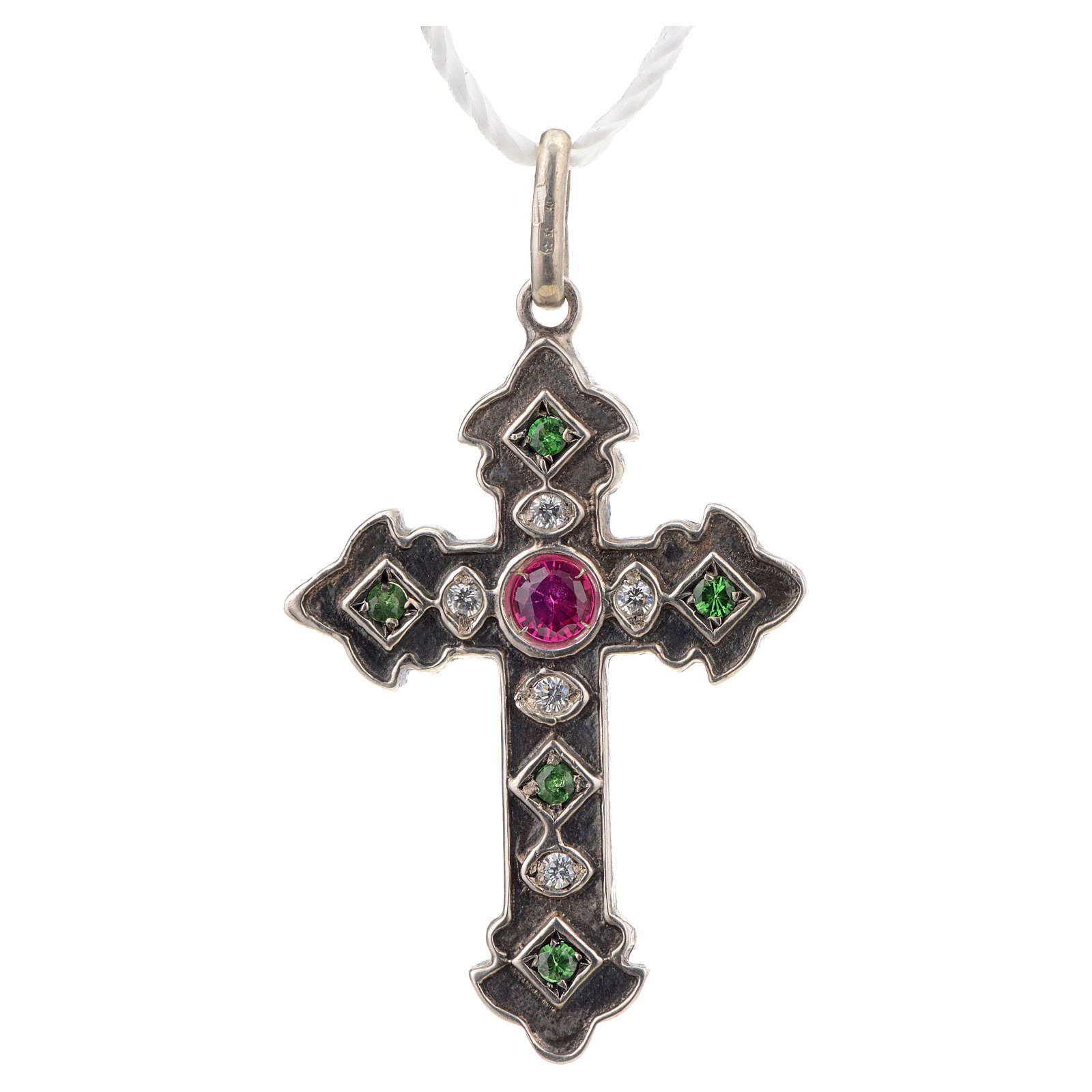 Pendant cross in sterling silver with red and green stones 4