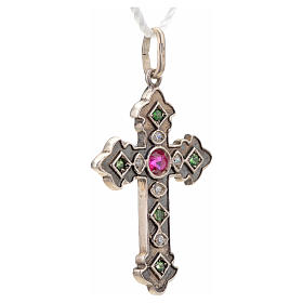 Pendant cross in sterling silver with red and green stones s5