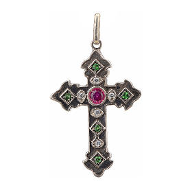 Pendant cross in sterling silver with red and green stones s1