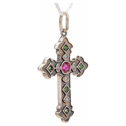 Pendant cross in sterling silver with red and green stones 5