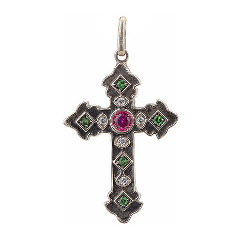 Pendant cross in sterling silver with red and green stones 1
