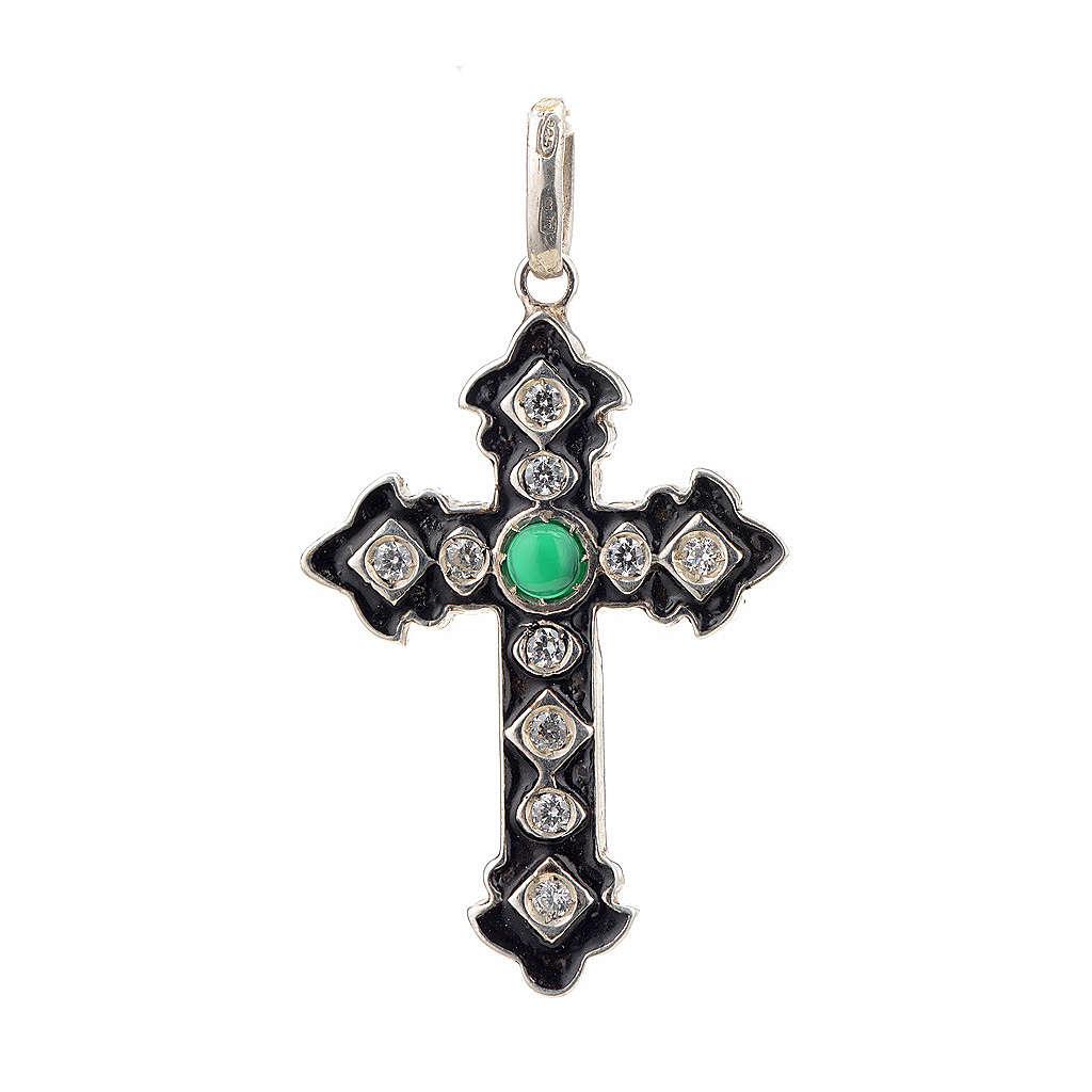 Cruz plata 925 con strass y piedra verde 4