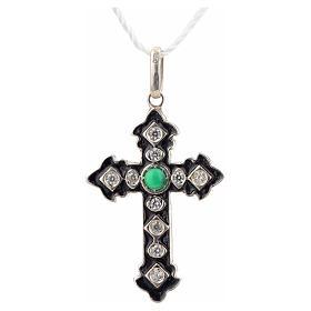 Cruz plata 925 con strass y piedra verde s4