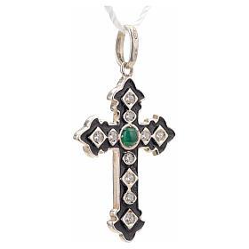 Cruz plata 925 con strass y piedra verde s5